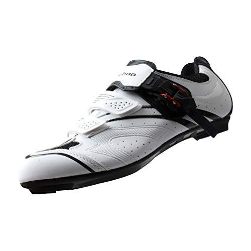 BHC Carretera Zapatillas de Ciclismo,Carretera Zapatillas de Ciclismo con Suela de Caucho y Triple Tira de Velcro Unisex,Blanco,39