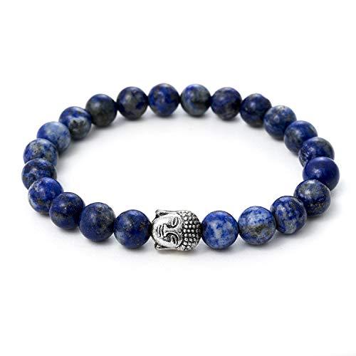 Lapislázuli pulsera de Buda de piedra natural o perlas de piedras volcánicas y perla fina budista - BERGERLIN