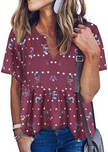 WLLW Women Bohemian Short Sleeve V Neck Floral Print T Shirt Tops Blouse Tee US L Red product image