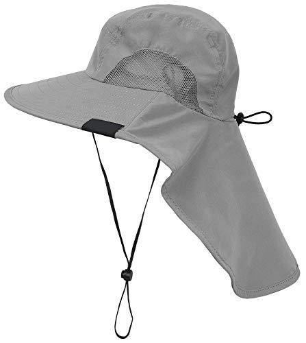 Tirrinia Wide Brim Sun Hat with Neck Flap, UPF 50+ Hiking Safari Fishing Caps for Men and Women
