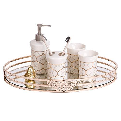 SongMyao Serviertablett Aufwändige Vanity Décor Bad-Accessoires Parfüm Platte Mirrored Tray Dekorative Aufsatz- Organizer (Color : Gold, Size : 35x21.5x4.5cm)