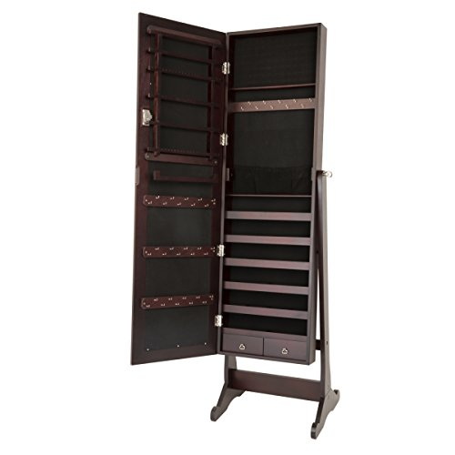 Escolourful Mirror Jewelry Cabinet Lockable Jewelry Armoire with Mirror Jewelry Holder Organizer...