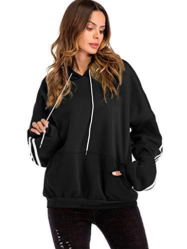DIDK Damen Pullover mit Kapuzen Hoodies Sweatshirt Casual Langarmshirts Pulli Oberteil Schwarz L