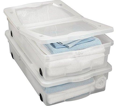 50 litres boîtes de rangement de dessous de lit en plastique avec roulettes-Lot de 2