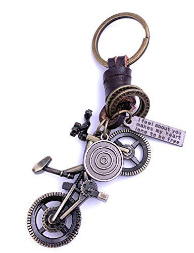 Onwomania Fahrrad BMX Trial Schlüsselanhänger Keychain Bronze aus Metall
