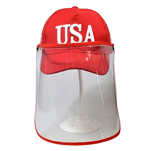 LY Unisexe 100% Casquette de Baseball Chapeau de Soleil Transparent Protecteur,Red