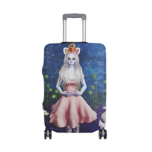 Funda Protectora para Maleta de Viaje con diseño de Unicornio y niña de Dibujos Animados, de Spandex, se Adapta a Maletas de 18 a 20 Pulgadas