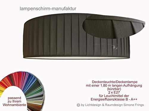 Deckenleuchte Plissee Lampenschirm 40 cm Durchmesser Taupe Grau Rot Gelb Grün Pink Pastell oder viele andere Farben 3 x E27 Diffuser Blendschutz