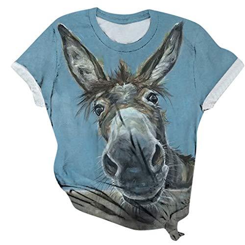 Weant Damen Cartoon Esel Bedrucktes T Shirt Kurzarm Animal Print O Ausschnitt Grafik Casual Tops Tee Shirt Oberteile Blusen