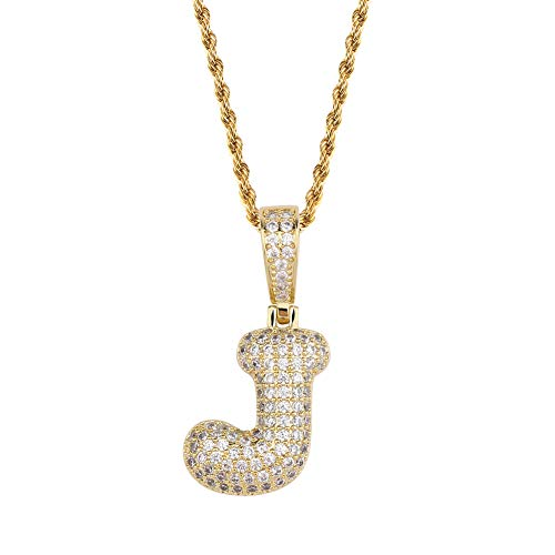 HECHUANG Micropave Simulated Diamond Iced Out Bling Custom Bubble Letters Pendant with Rope Chain (J Gold, 24)