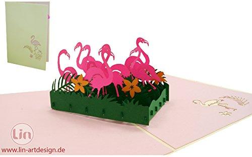 LIN 17535, Pop Up 3D Karten Tiere, Pop Up Karte Natur, POP UP Karten Geburtstag, Pop Up Geburtstagskarte, Grußkarten Gutschein Zoo, 3D Karten Klappkarten Geburtstagskarte Einschulung, Flamingo, N289