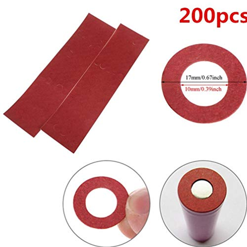 Gamloious 200pcs / Lot Li-Ionen-Akku Anode Isolierdichtung Insulator-Ring für 18.650 Anode Hollow Point Insulator Dichtung Teile