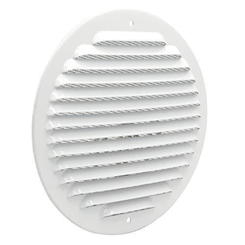La Ventilazione GABT160R Griglia di ventilazione tonda in metallo da sovrapporre con rete antisetto. Dimensioni ø 175 mm. Alluminio bianco