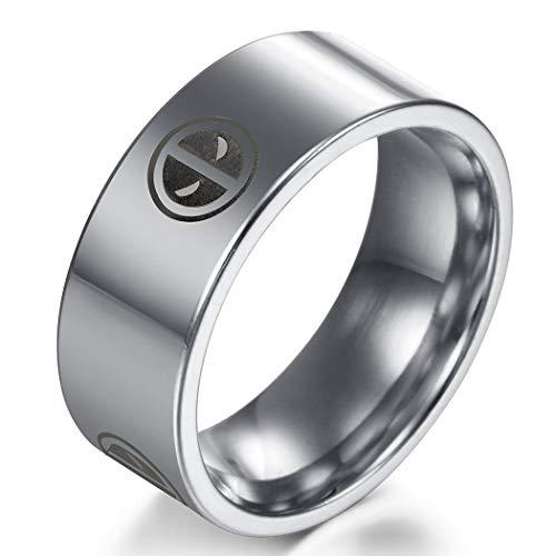 Sping Jewelry Marvel Deadpool Anillo de titanio de acero par