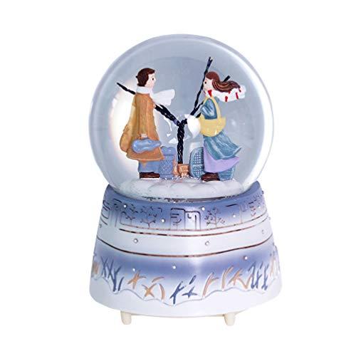 Caixa de música Amosfun globo de neve caixa de música para casal com bola de cristal luminosa ornamento com luz para decoração de mesa festiva presente para amantes