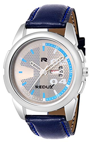 Redux Analogue Grey Dial Date N Day Display Blue Leather Strap Wrist Watch for Men's & Boy's Watch