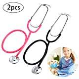 meekoo 2 Pieces Stethoscope Toy, Working Stethoscope for Cosplay, Educational Equipment, Pink and Black