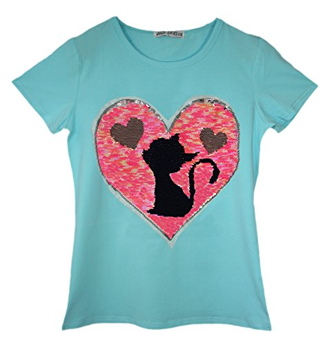 T-Shirt Filles Sequin Chat Teddy Ours Penguin Tee Brosse Changement Age 3-14 Ans