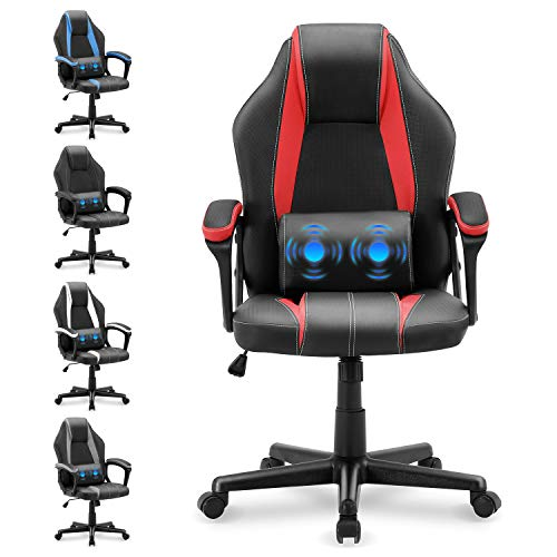 Yaksha Office Chair Gaming Chair with Massage Lumbar Support,High Back Leather Computer Gaming Chairs,Ergonomic Gamer Desk Chair for Women Men(Tango Red)