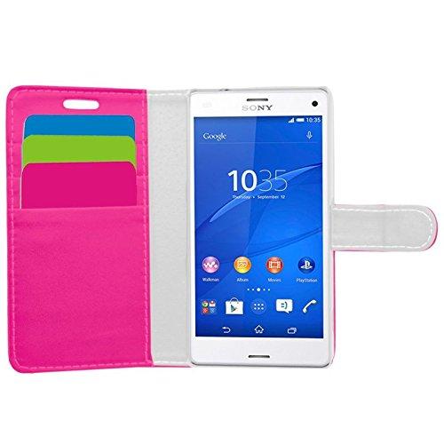 Samrick Executive Speciaal ontworpen zacht lederen boek portefeuille met creditcard/zakenkaarthouder voor Sony Xperia Z3 Compact roze