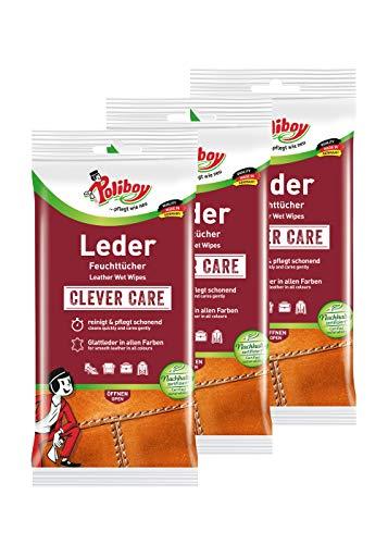 Poliboy Leder Feuchttücher - perfekte Reinigung für Glatt- und Kunstleder - 3er Pack - 3x20 Tücher - Made in Germany