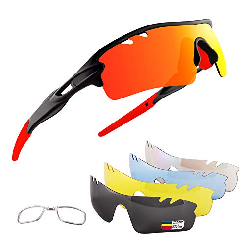 OULIQI Occhiali Ciclismo Polarizzati con 5 Lenti Intercambiabili Occhiali Bici Occhiali Sportivi da Sole UV da Uomo Donna per Corsa, MTB e Running (Nero Rosso)