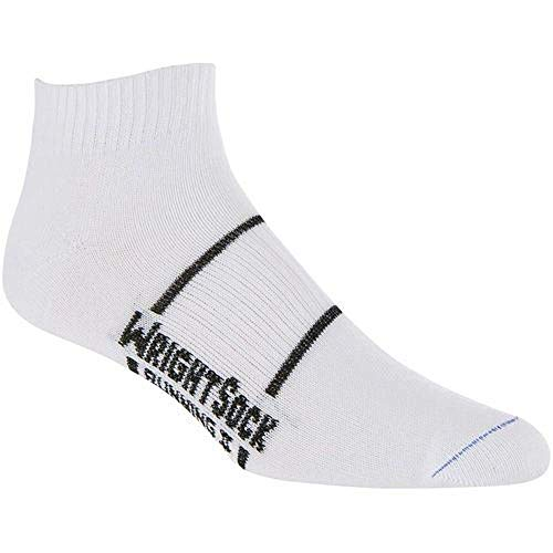 Wrightsock Anti-Blister Double Layer Running II Lo Quarter White with Black Accents M