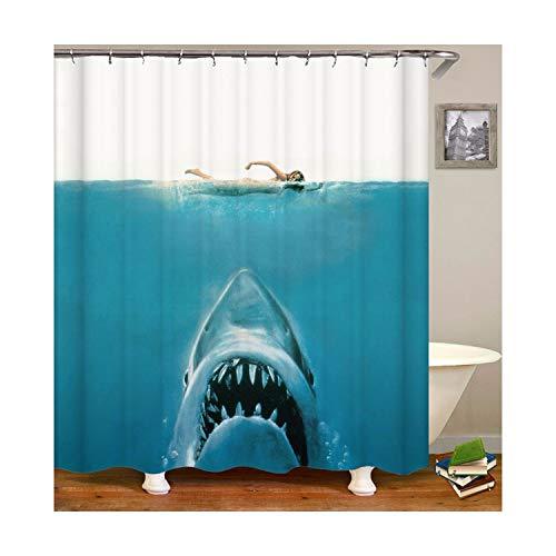 MaxAst Hai Duschvorhang Anti Schimmel, Blau Badewanne Vorhang 180x180CM, Antibakteriell Wasserdicht mit Kunststoff Ringe Kein Rost