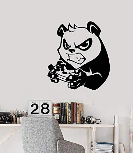 LKJHGU Adesivo da Parete in Vinile Cartone Animato Panda Arrabbiato Joystick Gioco Bellezza Bella Ragazza Ragazza