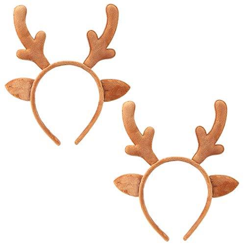 Christmas Reindeer Headband Reindeer Antlers Headbands Xmas Hair Band Headpiece Women Deer Cat Ears Hairband Hair Hoop Holiday Party Decoration Cosplay Costume Cute Hair Accessories 2 Pack Yellow
