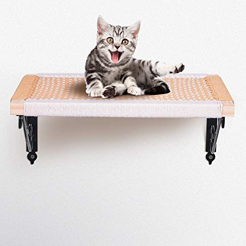 Purife Wood Cat Wall Shelves and Perches for Large Cats - Cat Shelf for Wall Indoor, Wall Mount Cat Bed, Premium Stylish Cat Wall Furniture, Cat Hammock Bed for Lounging Climbing Playing & Scratching