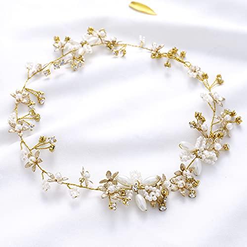 Runmi Boda flor novia pelo vid oro boda accesorios perla nupcial diadema para mujeres y niñas