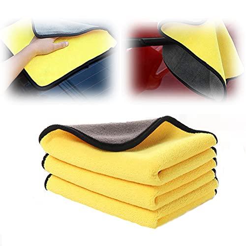 Toalla de coche para limpieza de fibra – 3 piezas, paño de felpa absorbente, esponja de coche, reutilizable