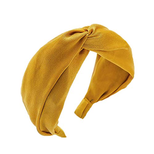 カチューシャ ヘアアクセサリー レディース ツイスト ヘアバンド 幅広 半額 ターバン まとめ髪 (黄色)