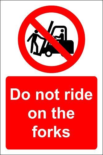 Rijd niet op de vorken heftruck Veiligheidsbord - 3mm Aluminium bord 400mm x 300mm