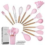 ZCOINS - 18+1 Juego de utensilios de cocina de silicona con asas de madera y soporte, utensilios de cocina (rosado)