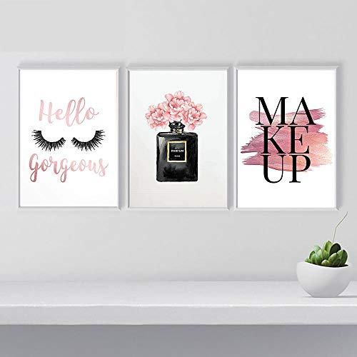 Tanyang Maquillage Affiche Nordique Mur Art De La Mode Cils Impression sur  Toile Peinture Bouteille De Parfum Photos pour Salon Décoration Moderne ...
