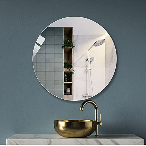 LED mirror Espejo de baño Redondo sin Marco Simple Baño de Pared Espejo de baño de Alta definición Espejo Redondo de Estilo Europeo 50CM / 60CM / 70CM / 80CM