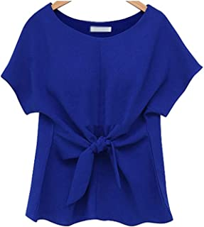 Fyuanmeiinsdxnv Womens tops summer Ladies Short Sleeve Aphrodisiacal Blouse Lace-up Chiffon Solid Color Shirt Ladies Blous...