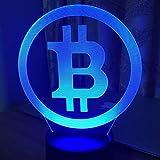 Lámpara de ilusión 3D, luces 3D Lámpara simple Bitcoin Night Light 7 colores, Cambiar luz LED Dormitorio Juguete Sensor de ilusión USB, Lámpara de escritorio táctil