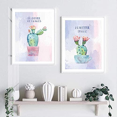 Crazystore Moderno 2 Piezas 50x70cm sin Marco Estilo nórdico Pastel Cactus impresión Cartel botánico Pared Arte Imagen Dibujos Animados Planta en Maceta decoración del hogar