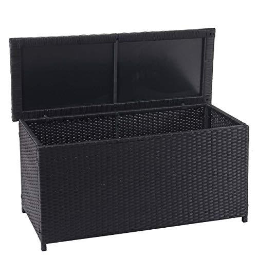 Mendler Poly-Rattan Kissenbox HWC-D88, Gartentruhe Auflagenbox Truhe ~ Basic schwarz, 63x135x52cm 320l
