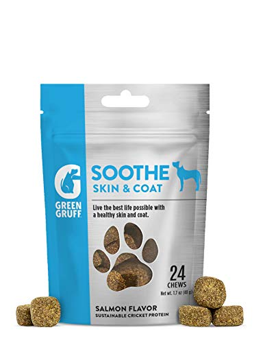 Green Gruff Soothe Skin and Coat - Dog Skin & Coat Care Chews - Fish Oil Supplement for Dogs - Itch, Allergy, Dandruff, Shedding, Dry Skin Relief Treatment - Salmon Oil Treats - Omega 3 Bites