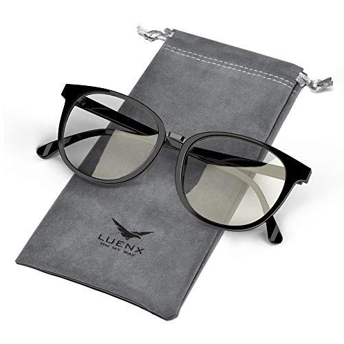 LUENX Blue Light Blocking Glasses For Women/Men - Protective Filter Glasses for Computer Gaming Anti Eyestrain Black