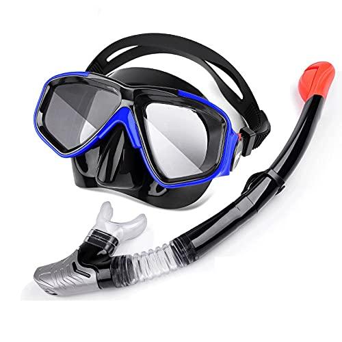 XJW Snorkel de silicona de cara completa con lentes intercambiables de visión cercana, juego de respiradero para adultos 2021/6/9 (color: púrpura)