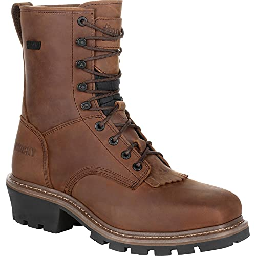 Rocky Square Toe Logger Waterproof Work Boot Size 10(M)