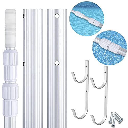 WSBArt Swimming Pool Pole, 4 to 12 Feet, Aluminium Telescopic Pole, Best for Skimmer Nets, Vacuum Heads and Brushes, Strong Grip & Lock, Ribbed Finish with 1Pairs Hooks