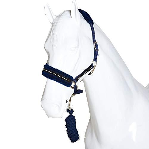 Best On Horse Diamant-Halfter – Fellimitat, verstellbar, für Pferde und Ponys, D.BLUe, Pony