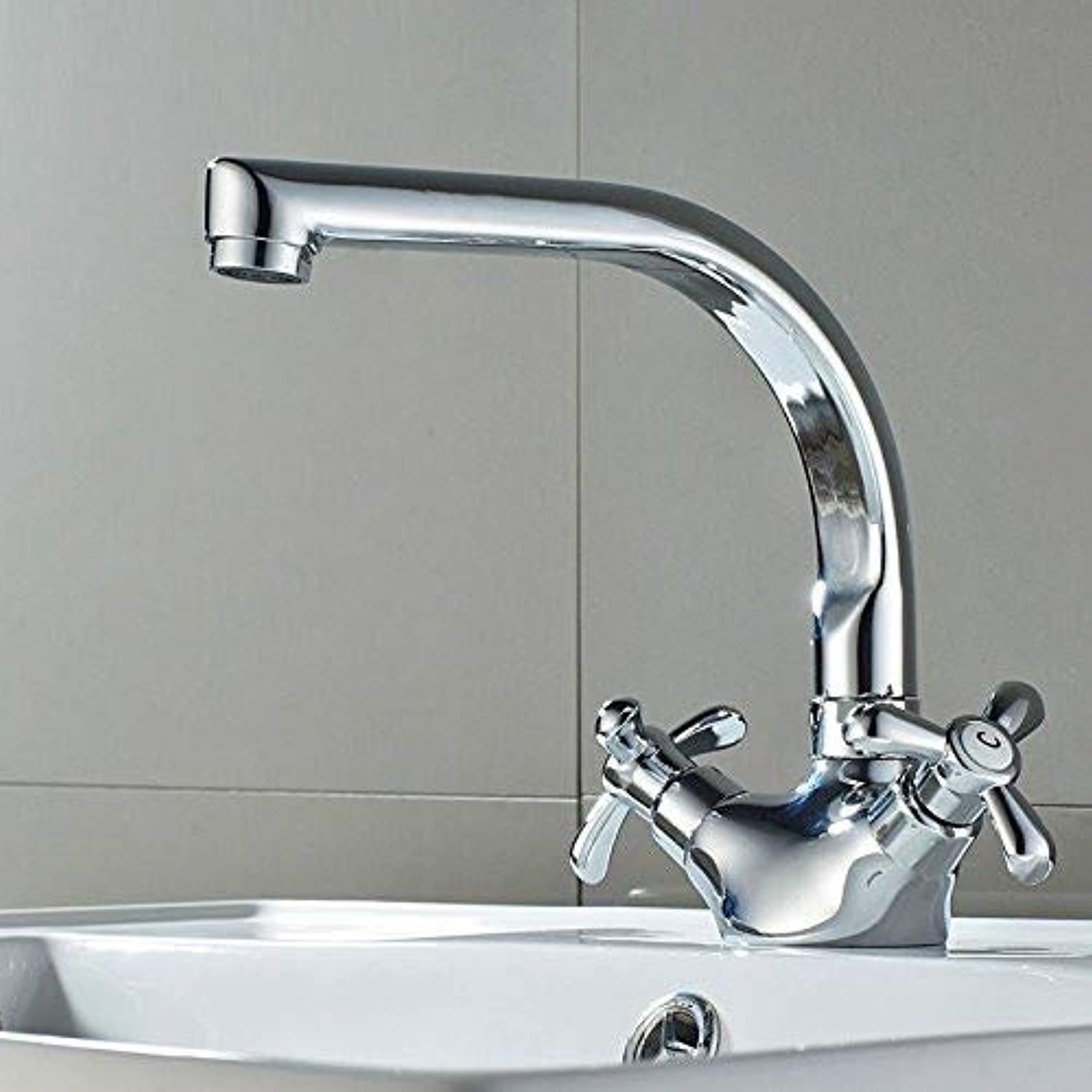 redOOY Taps Basin Faucet Deck Mounted Hot And Cold Water Polished Chrome Process Swivel Mixer Tap Taps