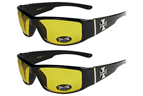 2er Pack West Coast Choppers Fahrradbrille Sonnenbrille Herren Damen schwarz